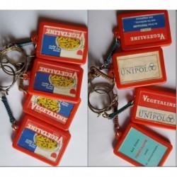 porte-clés Végétaline huile Unipol, lot 4 rouges différents (pc)