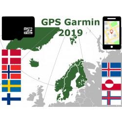 carte 2019 Finlande Suède Norvège Danemark Islande Groenland Féroé. microSD GPS Garmin nuvi zumo edge oregon