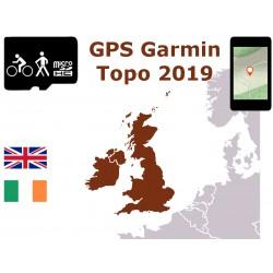 carte topo 2019 Royaume-Uni Irlande, Angleterre Écosse Galles. microSD GPS Garmin edge oregon gpsmap etrex