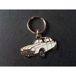 Porte-clés profil Peugeot 204 berline (blanc)