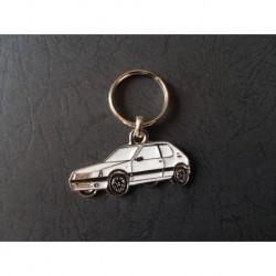 Porte-clés profil Peugeot 205, GTi XT XS XR (blanc)