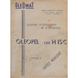 Oleomat Oleopel H15C, manuel d'utilisation