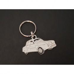 Porte-clés profil Renault Dauphine, Ondine (blanc)