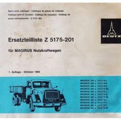 Deutz Magirus 200 D et 210 D, catalogue de pièces