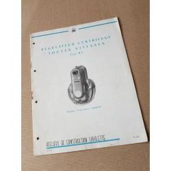 Lavalette régulateur centrifuge Toutes Vitesses RV, notice original