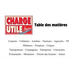 Charge Utile, table des matières, sommaire depuis le n°1 et Hors Série