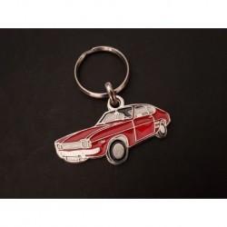 Porte-clés profil Ford Capri, GT V6 2600 RS XLR 1300 3000 2000 (rouge)