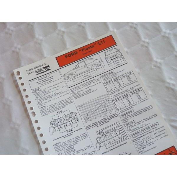 fiche technique ford fiesta 1 1l 50ch mk2 4 5cv. Black Bedroom Furniture Sets. Home Design Ideas