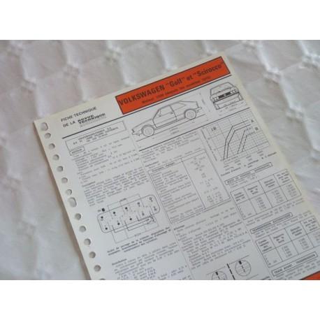 fiche technique volkswagen golf et scirocco 1500 mk1 8cv depuis 1978. Black Bedroom Furniture Sets. Home Design Ideas