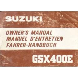 Suzuki GSX 400E, notice d'entretien