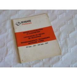Bernard-Moteurs 17bis, 27bis, 117bis, 127bis, 217, 227, notice d'entretien originale