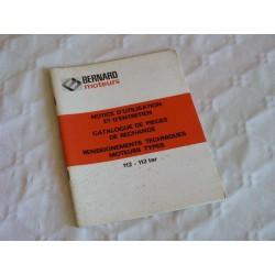 Bernard-Moteurs w112, w112bis, w112ter, notice d'entretien originale