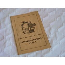 Bernard-Moteurs w9, notice d'entretien originale
