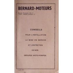 Bernard-Moteurs groupes moto-pompes, notice d'entretien