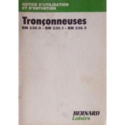 Bernard-Moteurs tronçonneuses BM230.0, 230.1, 236.3, notice d'entretien