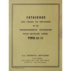 Bernard-Moteurs moteur diesel 62 et 71, catalogue de pièces et réglages