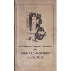 Bernard-Moteurs WD14, notice d'entretien et catalogue de pièces