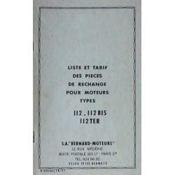 Bernard-Moteurs 112, 112Bis, 112Ter, liste des pièces de rechange