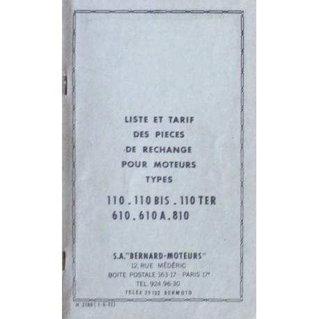 Bernard-Moteurs 110, 110Bis, 110Ter, 610, 610A, 810, liste des pièces de rechange