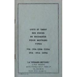 Bernard-Moteurs 19A, 39A, 139A, 239A, 29A, 49A, 249A, liste des pièces de rechange