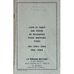 Bernard-Moteurs 18A, 218A, 318A, 28A et 328A, liste des pièces de rechange