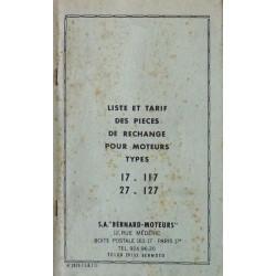 Bernard-Moteurs 17, 117, 27, 127, liste des pièces de rechange
