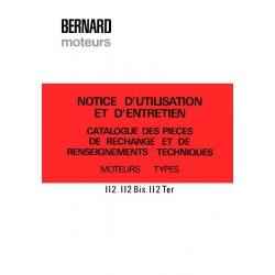 Bernard-Moteurs 112, 112Bis, 112Ter, notice et catalogue de pièces