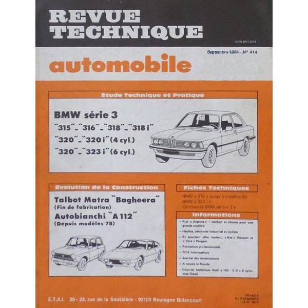 rta revue technique automobile bmw s rie 3 e21 315 316. Black Bedroom Furniture Sets. Home Design Ideas