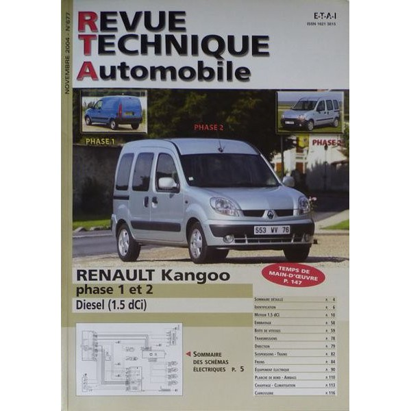 rta revue technique automobile renault kangoo i phase 1 et 2 diesel. Black Bedroom Furniture Sets. Home Design Ideas