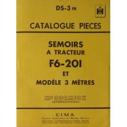 McCormick semoir F6-201 et 3 mètres, catalogue de pièces