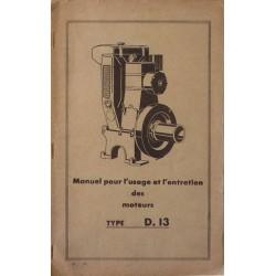 Bernard-Moteurs WD13, notice d'entretien et catalogue de pièces