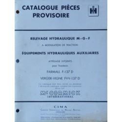 McCormick F-137D, FVV-137D, catalogue de pièces hydrauliques