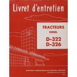 McCormick D-322, D-326, notice d'entretien