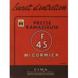 McCormick presse ramasseuse F-45, notice d'entretien