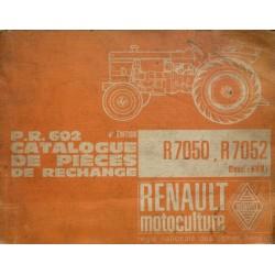 Renault R7050 et R7052, catalogue de pièces