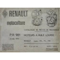 Renault 715, 714, 598, catalogue de pièces