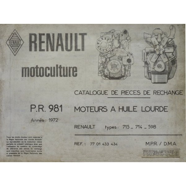 catalogue de pi ces moteurs renault 715 714 598 des r55 r57 r88. Black Bedroom Furniture Sets. Home Design Ideas