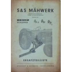 Deutz D25.2, D30 et D30S, faucheuse Stockey & Schmitz, catalogue de pièces