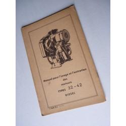 Bernard-Moteurs diesel 32 et 42, notice d'entretien originale