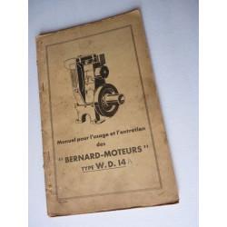 Bernard-Moteurs WD14, notice et catalogue de pièces original