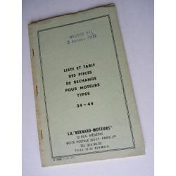 Bernard-Moteurs diesel 34 et 44, liste des pièces, original