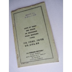 Bernard-Moteurs 110, Bis, Ter, 610, A, 810, liste des pièces, original