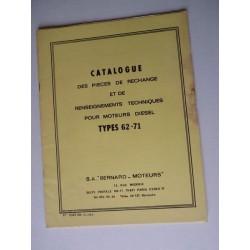 Bernard-Moteurs diesel 62 et 71, catalogue de pièces original
