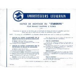 Lelaurain Stabidrive amortisseur pour Renault Dauphine et Floride, notice de montage