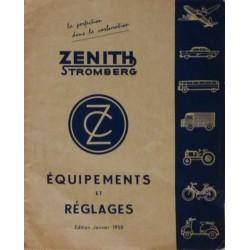 Zénith, affectation et réglage des carburateurs pour les années 50