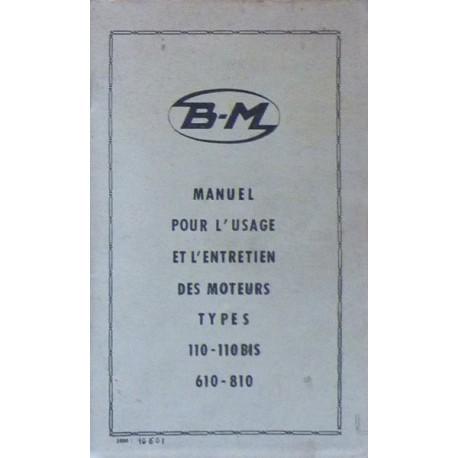 Bernard-Moteurs 110, 110 bis, 610 et 810, notice d'entretien et catalogue de pièces