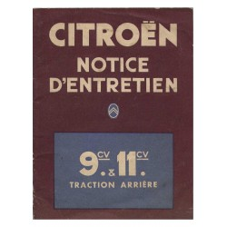 Citroën 9cv et 11cv, notice d'entretien