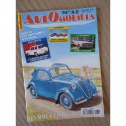 Automobilia n°32, Simca 5 et 6, aéro Peugeot, proto Renault, Delahaye 135, Glas