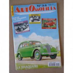 Automobilia n°34, Renault Juvaquatre, Vespa 400, Franay, Plan Pons, Peugeot 302 402