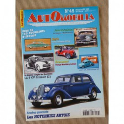 Automobilia n°45, Renault 4cv, Hotchkiss Artois, René Ducassou-Péhau, Panhard Dyna X, Kaiser